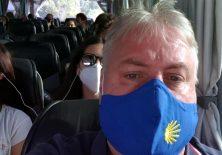 Bus-Anreise zum Jakobsweg mit Pilgermaske