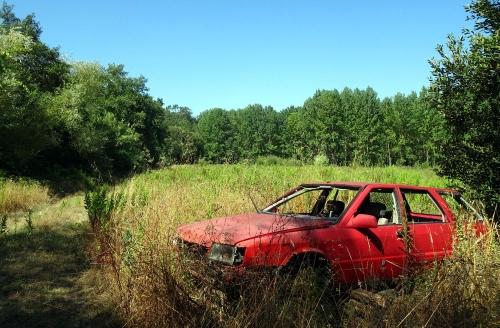 Wenn die Kraft nicht mehr reicht nimmt der Pilger dieses im Wald geparkte Auto.