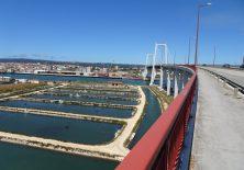 Große Brücke über den Mondego mit Blick auf die Fischteiche.