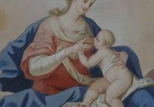 Maria gibt dem kleinen Jesus die Brust.