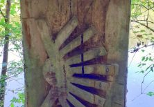 Jakobsmuschel aus Holz am Camino
